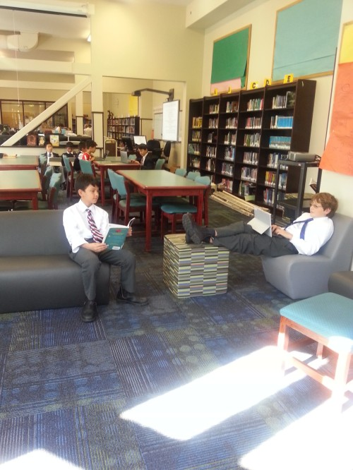 The soft furnishings really make the reading area cozy.
