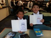 Lucas and Ray were thrilled with their autographs and drawings from Kazu.