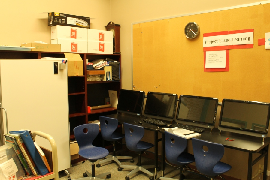 This is the student workspace in the Library office.