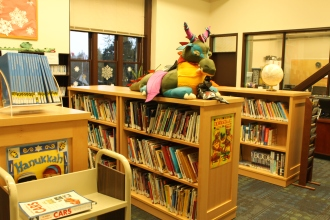 The new non-fiction shelving. Remember that MONSTROUS unit that blocked the whole library? Gone!