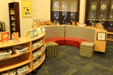 """The """"Cozy Little Corner"""" where students love to hang out and read."""