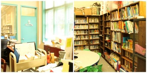 This is the old office. On the right is the storage/student work area. On the left is Ms. Walker's messy desk!